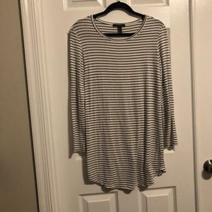 Ivory & Black Striped Long Sleeved Shift Dress
